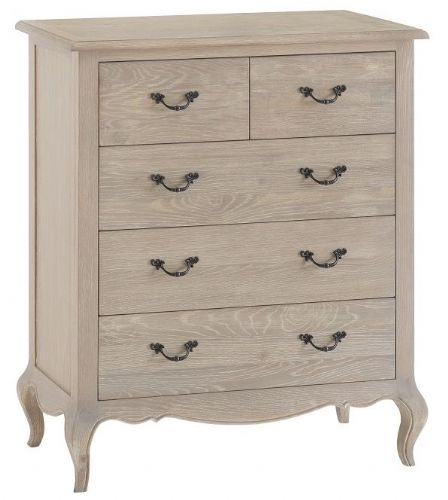 French Oak 2 over 3 Drawer Chest